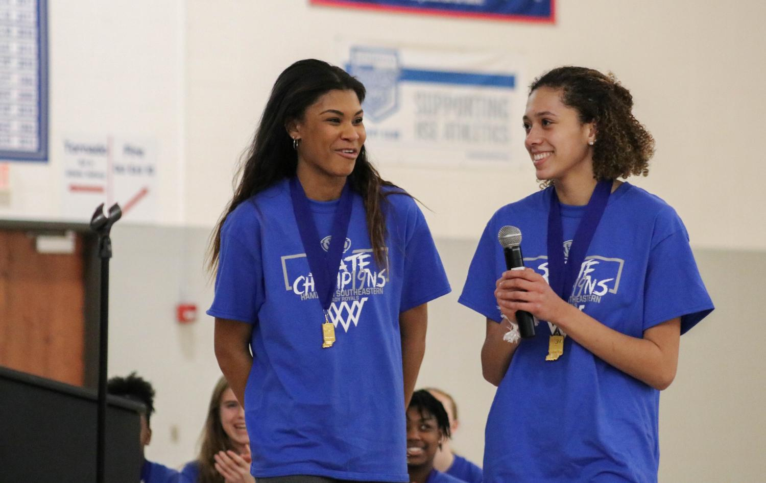 """""""Thank you so much to all of you for coming out to support us at every game. You guys are one of the major reasons that we made it so far this season, and you made it so fun these past four years, so thank you.""""- Senior Amaya Hamilton (right)"""