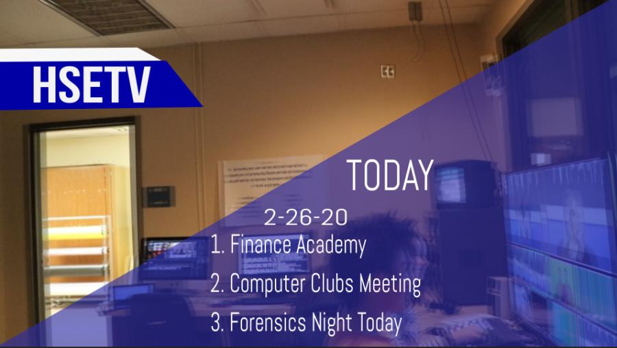 HSETV Newscast: Wednesday, February 26th, 2020