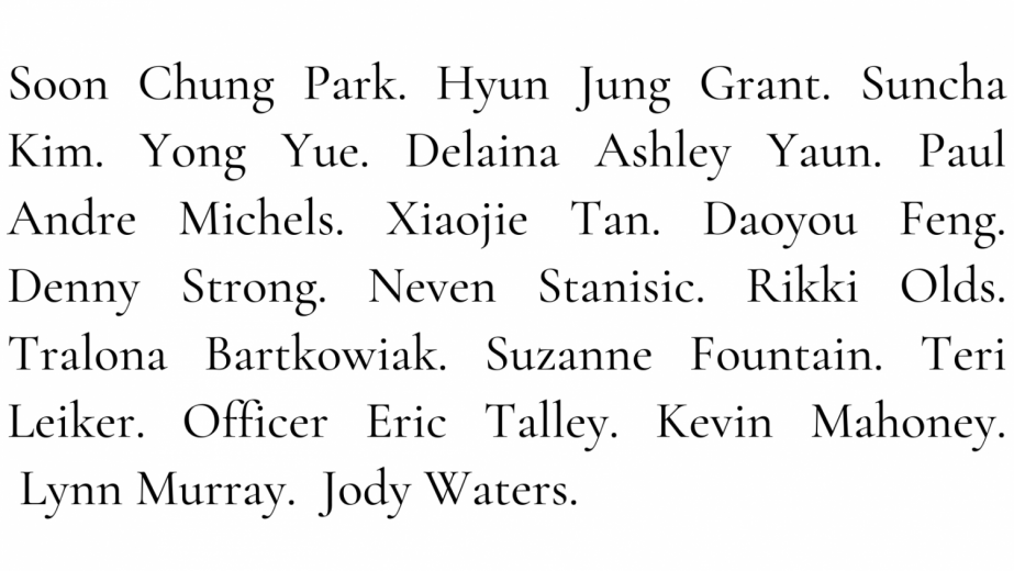 The names of the 8 Georgia victims and the 10 Colorado victims.